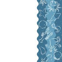 Vertikal wiederholendes Muster mit Meeresfrüchten. Nahtlose Fahne der Meeresfrüchte mit Unterwasserkonturtieren. Fliesendesign für Restaurantmenü, Fischfutterindustrie oder Marktgeschäft.