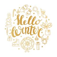 Hello winter handlettering with christmas elements. Winter season card, greeting vector