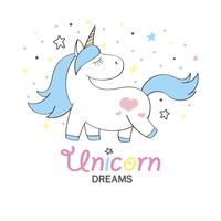 Magic cute unicorn in cartoon style. Doodle unicorn for cards, posters, t-shirt prints, textile design