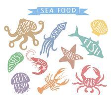 Illustrazioni variopinte disegnate a mano di vettore dei frutti di mare isolate su fondo bianco, elementi per progettazione del menu del ristorante, decorazione, etichetta.