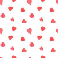 Acuarela corazones de patrones sin fisuras. Repitiendo el fondo del día de San Valentín con corazones pintados de rojo. Textil romántico, papel de regalo, papel tapiz o textura scrapbooking.