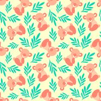Seamless pattern with cute koala bears and leaves. Repeating background for childrens textile prints, wrapping paper. Kids animal pattern.
