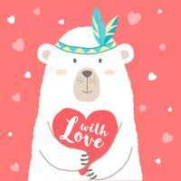Vector el ejemplo del oso lindo de la historieta que lleva a cabo el corazón y las letras escritas mano con el amor para la tarjeta de las tarjetas del día de San Valentín, carteles, impresiones de la camiseta, tarjetas de felicitación. Saludo del dia de