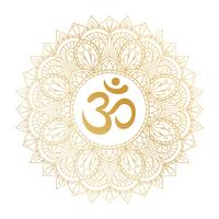 Golden Aum Om Ohm symbol in decorative round mandala ornament. vector
