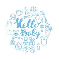 Plantilla de la tarjeta del saludo y de la invitación de la celebración de la fiesta de bienvenida al bebé con las letras de la mano hola bebé y el contorno del bebé diseñan elementos