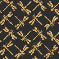 Golden textured dragonfly vector seamless pattern for textile design, wallpaper, wrapping paper or scrapbooking.