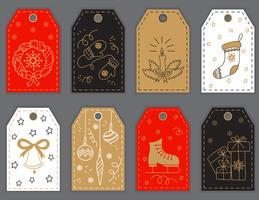 Christmas and New Year gift tags design with hand drawn doodle elements.