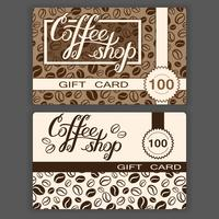 Coffee shop gift cards templates. Vector illustration of coffee shop gift cards with hand lettering and coffee beans background.