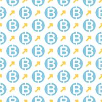 Vector seamless pattern with bitcoins. Cryptocurrency repeating background.