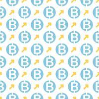 Vector seamless con bitcoin. Criptovaluta che ripete lo sfondo.