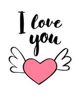 Scritte scritte a mano ti amo e forma di cuore per carta di San Valentino, poster, stampa t-shirt o etichetta. Illustrazione vettoriale di San Valentino.