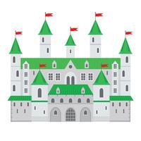 Illustrazione vettoriale di un castello in stile piano. Fortezza di pietra medievale. Il castello di fantasia astratta può essere utilizzato nei libri, sullo sfondo del gioco, sul web design, sul banner, ecc.