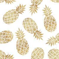 Golden pineapples seamless vector pattern on white background.