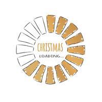 Ronde gouden voortgangsbalk met inscriptie - Kerst laden in schetsmatige stijl. Vectorkerstmisillustratie voor t-shirtontwerp, affiche, groet of uitnodigingskaart.