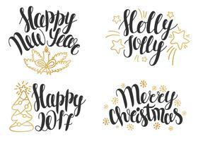 Julbokstäver. Handdragen fraser för jul och nyår.