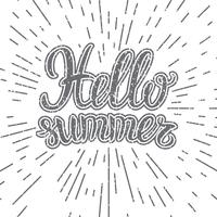 Vector hand lettering inspirational typography poster Hello summer.  Hello summer lettering. Inspirational quote Hello summer. Monochrome lettering Hello Summer