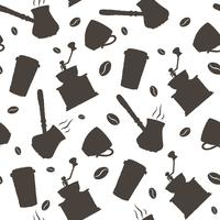 Monochrome vector hand drawn coffee pattern.