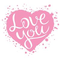 Love you lettering on pink heart shape, Love confession vector illustration.