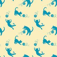 Seamless pattern with cute playing cats on yellow background.