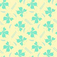Seamless pattern with butterflies and floral elements. Vector illustration.