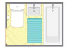 Ilustración interior del vector de la opinión superior del cuarto de baño. Plano de planta del baño. Diseño plano.