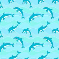 Vector seamless pattern with dolphins on waves background.