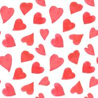 Watercolor hearts seamless pattern. Repeating Valentines day background with painted red hearts. Romantic textile, wrapping paper, wallpaper or scrapbooking texture. vector