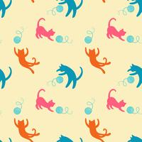 Seamless pattern with cute colored playing cats. Repeating cats background