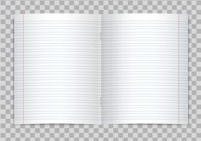 Vector opened realistic lined elementary school copybook with red margins on transparent background. Mockup or template of blank lined opened pages of notebook or exercise book with staples.