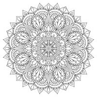 Oriental decorative element for adult coloring book. Ethnic ornament. Monochrome contour mandala, Anti-stress therapy pattern. Yoga symbol.