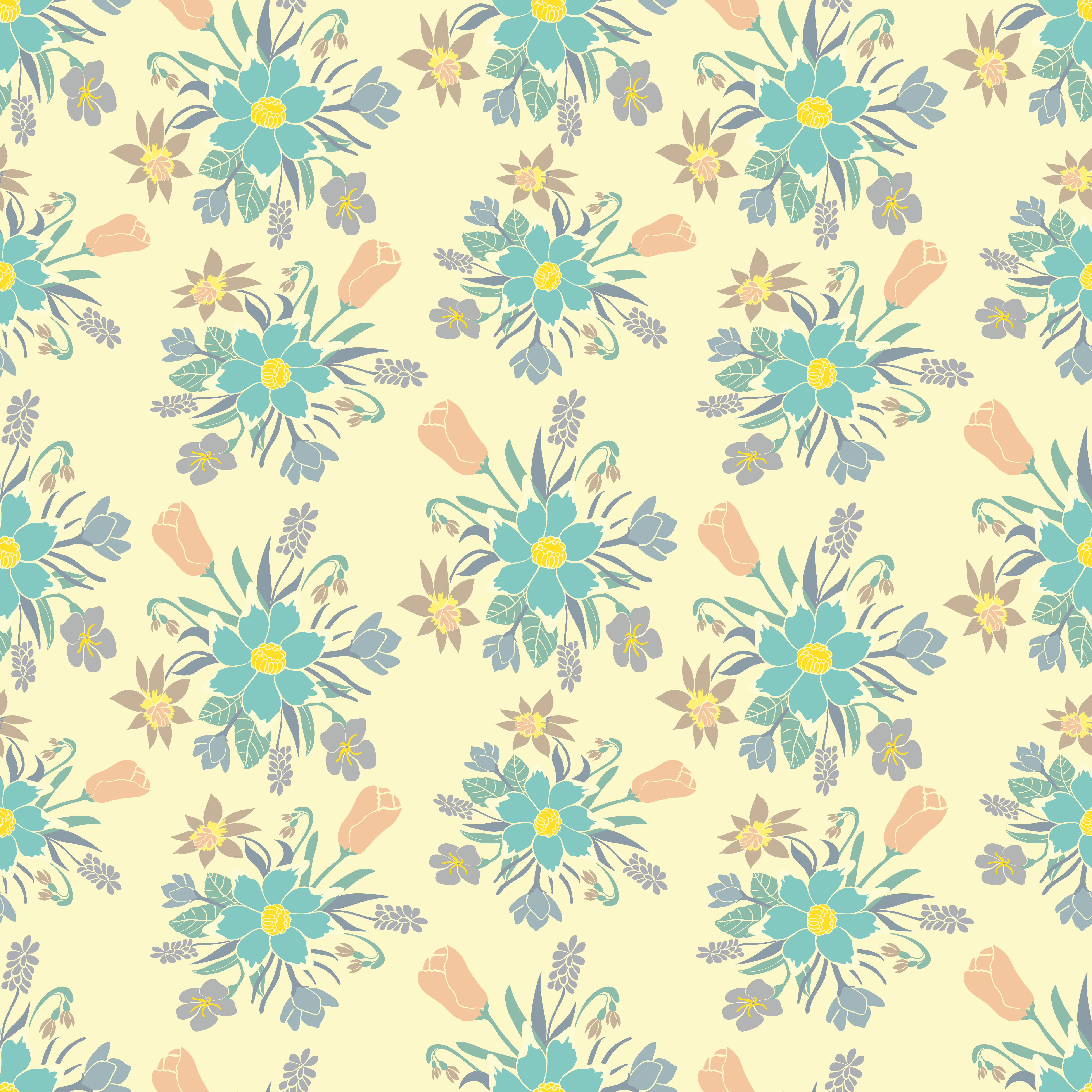 Seamless Colorful Background With Spring Flowers Floral Pattern
