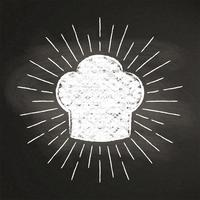 Chef's toque chalk silhoutte with  sun rays on blackboard. Good for cooking logotypes, bades or posters. vector