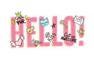 Olá letras com doodles femininos e mão desenhadas frases para design de cartão de dia dos namorados, impressão de t-shirt da menina. Mão desenhada Olá, slogan
