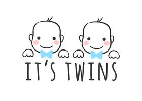 Vector sketched illustration with baby   boy faces and inscription - It's twins  - for baby shower card, t-shirt print or poster.