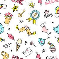 Patrón sin fisuras con garabatos femeninos dibujados a mano. Repetición de fondo con elementos de diseño de boceto infantil para textil, papel tapiz, scrapbooking.