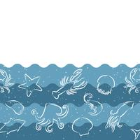 Horizontal repeating pattern with seafood products. Seafood seamless banner with underwater animals. Tile design for restaurant,  fish food industry or market shop.
