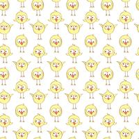 Seamless pattern with cute chickens.