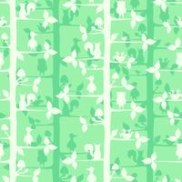 Seamless vector pattern with trees and forest birds and animals.