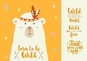 Ilustración del vector del oso lindo de la historieta con los elementos tribales del diseño y las frases escritas mano para los carteles, impresiones de la camiseta, tarjetas de felicitación.
