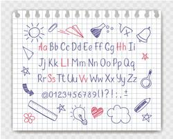 Alphabet in sketchy style with school doodles on copybook sheet. Vector handwritten pencil letters, numbers and punctuation marks. Ink pen handwriting font and doodle design elements.