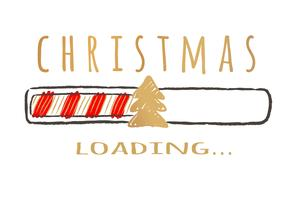Barra de progresso com inscrição - Natal loading.in estilo esboçado. Vector a ilustração de Natal para cartão de design, cartaz, saudação ou convite de t-shirt.