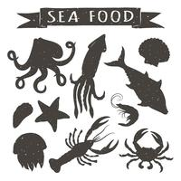 Seafood hand drawn vector illustrations isolated on white background, elements for restaurant menu design, decor, label. Vintage silhouettes of sea animals.