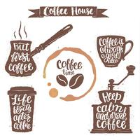 Coffee lettering in cup, grinder, pot shapes and cup stain. Modern calligraphy quotes about coffee. Vintage coffee objects set with handwritten phrases.