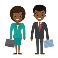 Vector illustration of afro american businessman and businesswoman characters wi