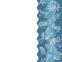 Padrão de repetição vertical com produtos de frutos do mar. Banner sem emenda de frutos do mar com animais de contorno subaquático. Projeto da telha para o menu do restaurante, a indústria alimentar de peixes ou a loja do mercado.