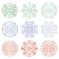 Set of 9 hand-drawn vector Arabic mandala on white background. Round abstract ethnic oriental ornament.