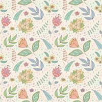 Vector pattern with spring doodle flowers and leaves.
