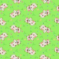 Vector seamless pattern with cartoon styled cows, mosquitoes and butterflies.