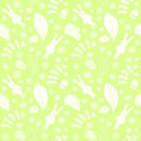 Seamless pattern with cute rabbits and floral elements.