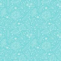 Seamless vector pattern with flowers and leaves.
